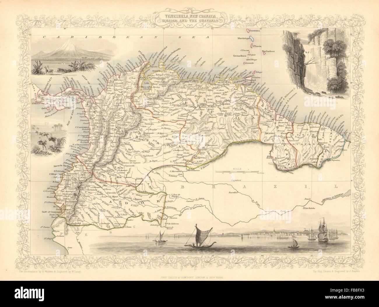 VENEZUELA, NEW GRANADA, EQUADOR & THE GUYANAS': Ecuador.TALLIS/RAPKIN, 1851 map Stock Photo
