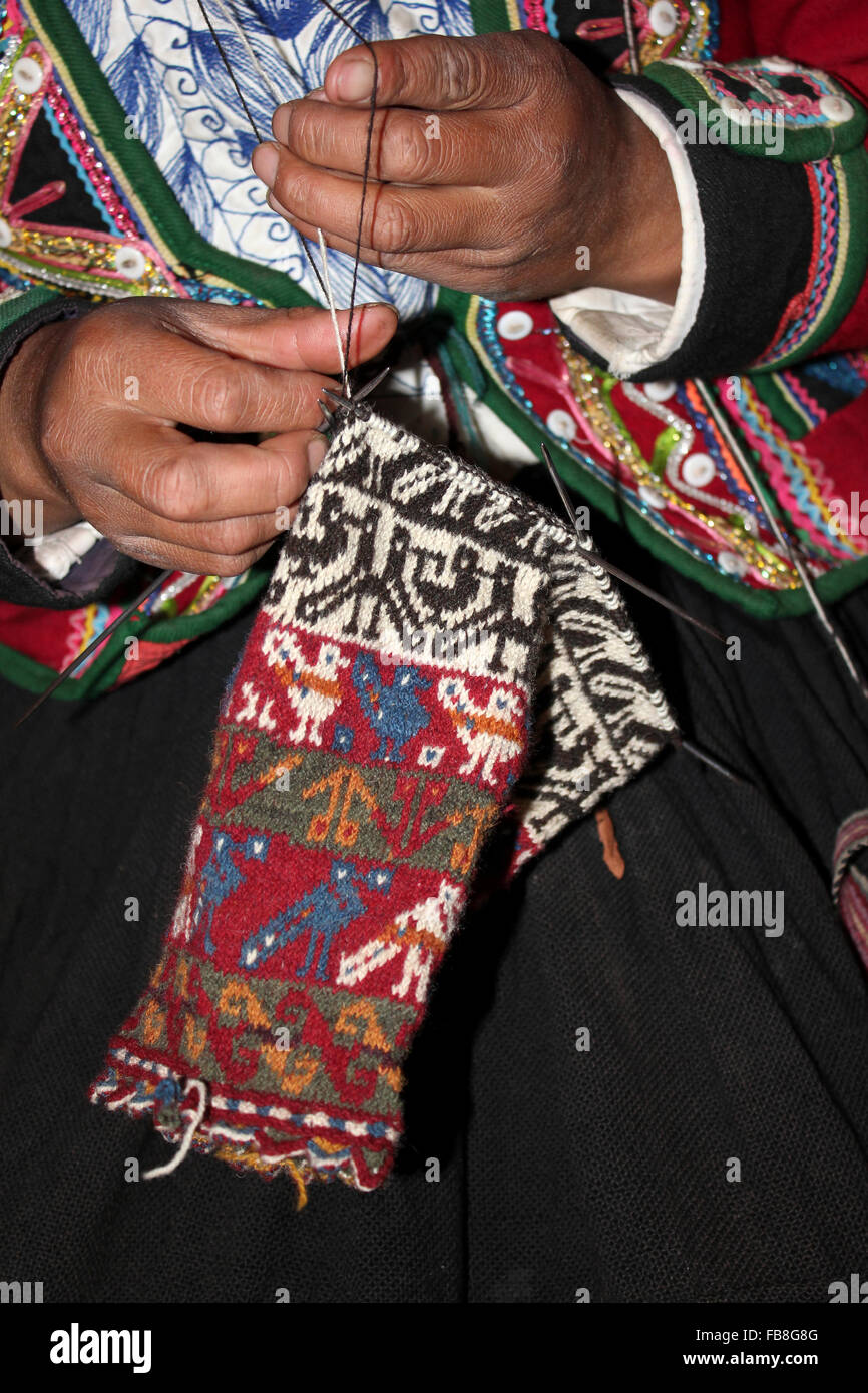 Peru Woman Knitting - Stock Image