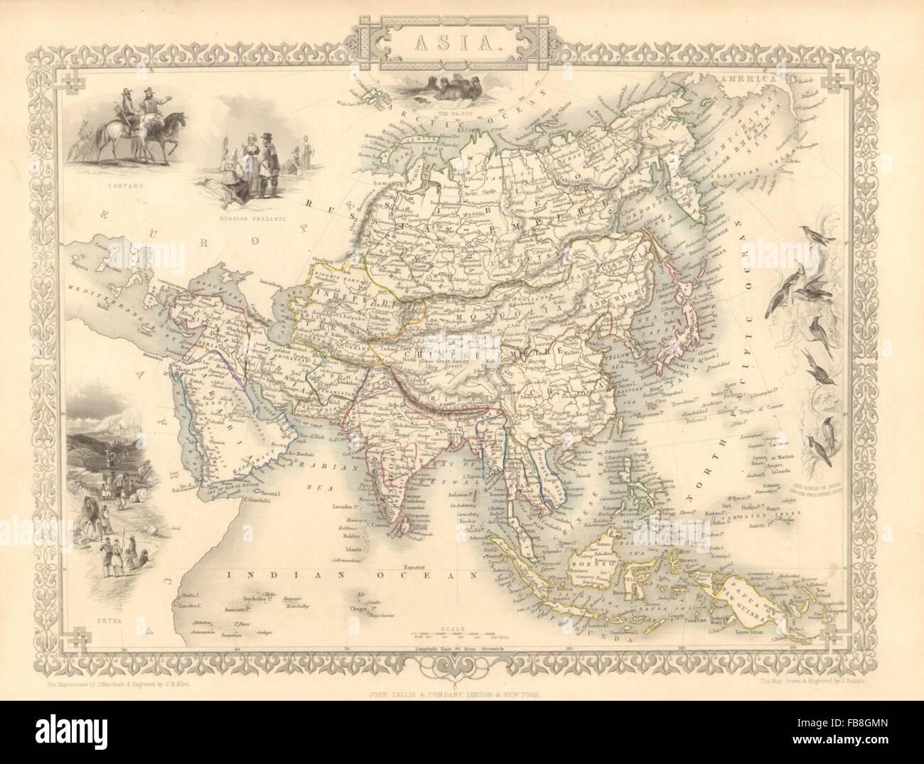 Weller 1862 Map Asia W/ Great Wall Of China Tartary Siam Anam.sarawak Kingdom
