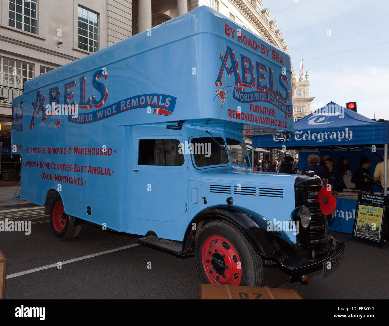 A 1941 Bedford MLD, a long wheelbase  Commercial removals vehicle from  Abels Moving Services. - Stock Image