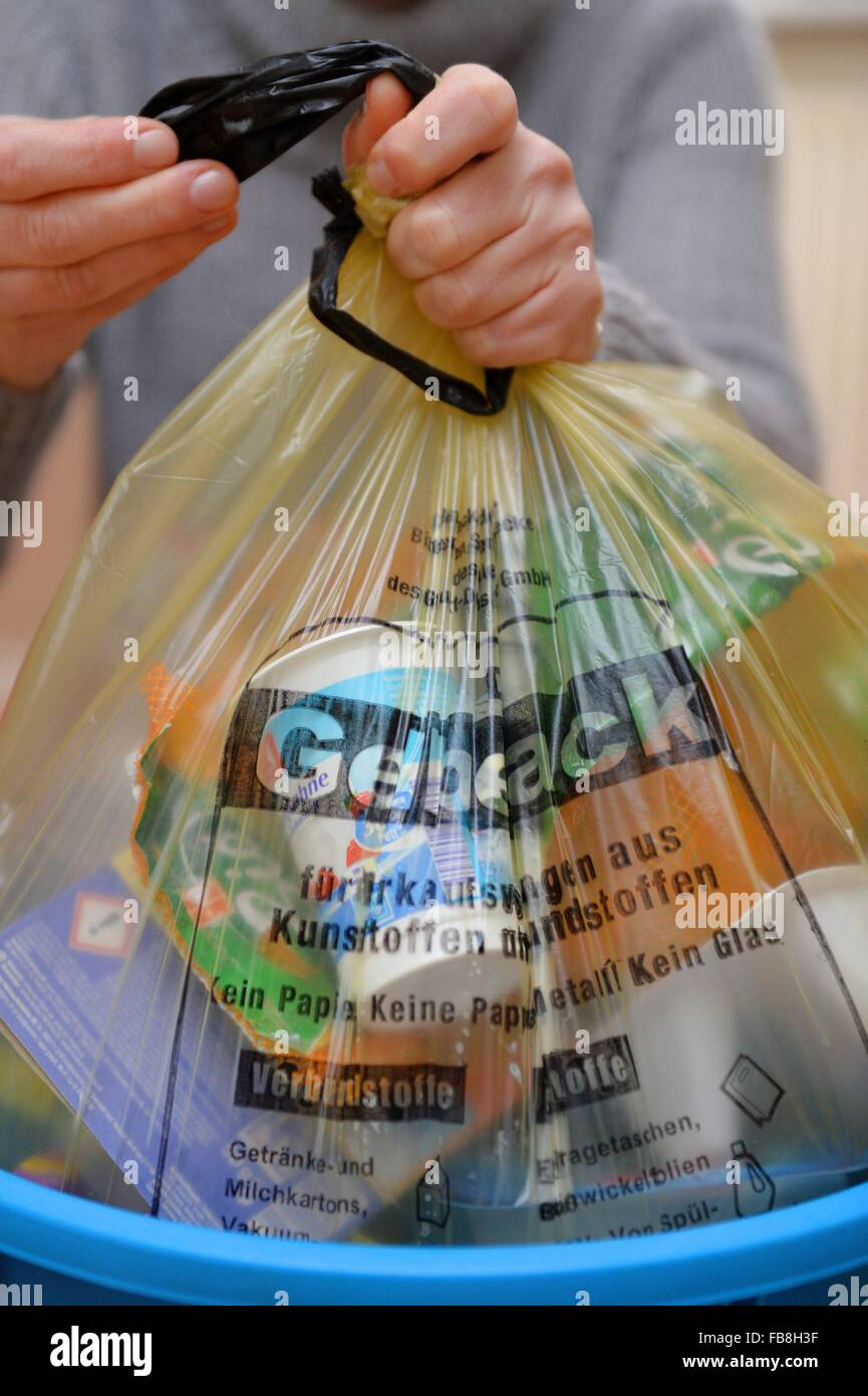 """Plastics, cans and polystyrene are collected in """"Gelbe Sack"""" yellow plastic bags in Germany, Germany, 07. January Stock Photo"""