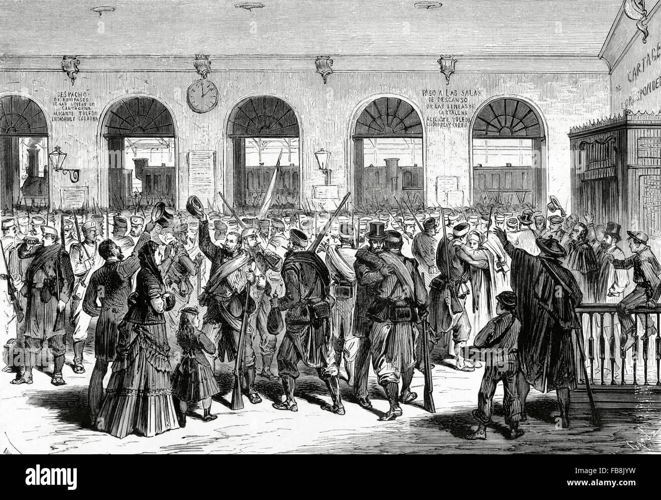 Third Carlist War (1872-1876). Spain. Madrid. The  Battalion of Hunters of Santander departs to Cuba. Engraving - Stock Image