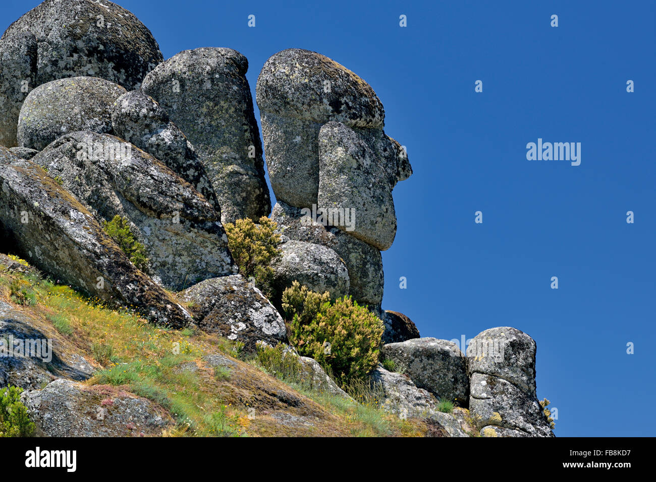 Portugal: Granitic stone formation 'Cabeça do Velho' ((Head of the Old Man) in the mountain region - Stock Image