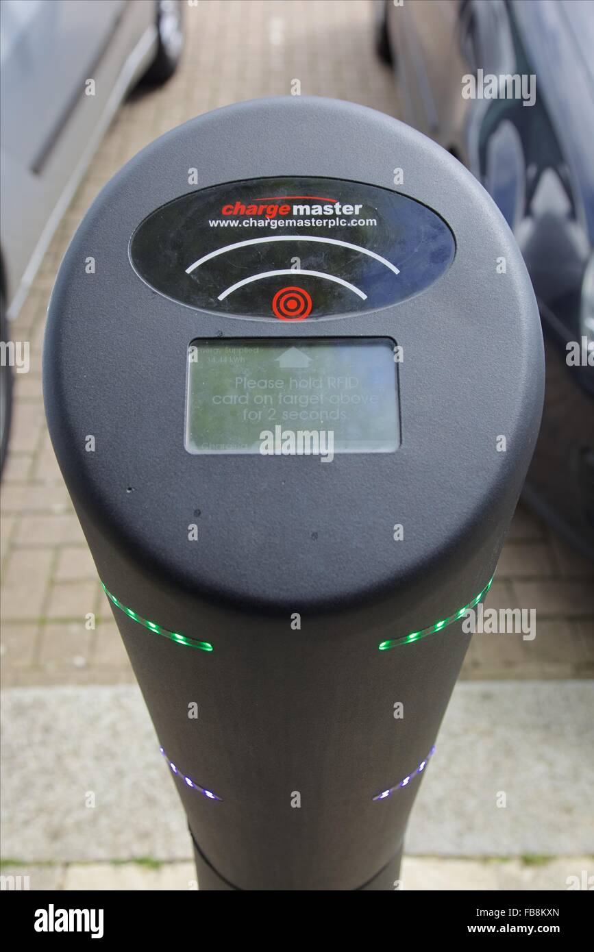A Charge Master charging point for electric vehicles, Milton Keynes, England - Stock Image