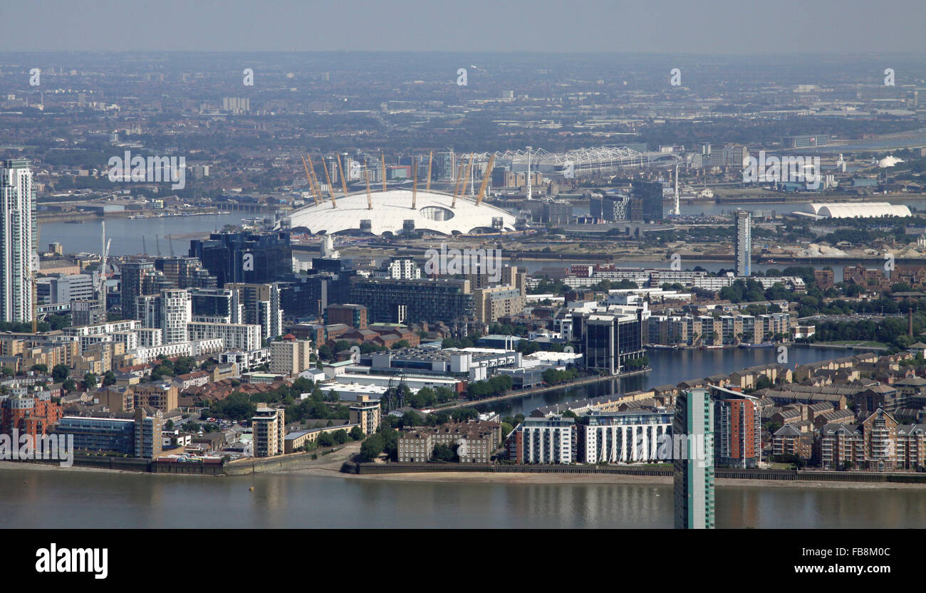 aerial view of Millwall Outer Dock in Docklands, East London, UK - Stock Image