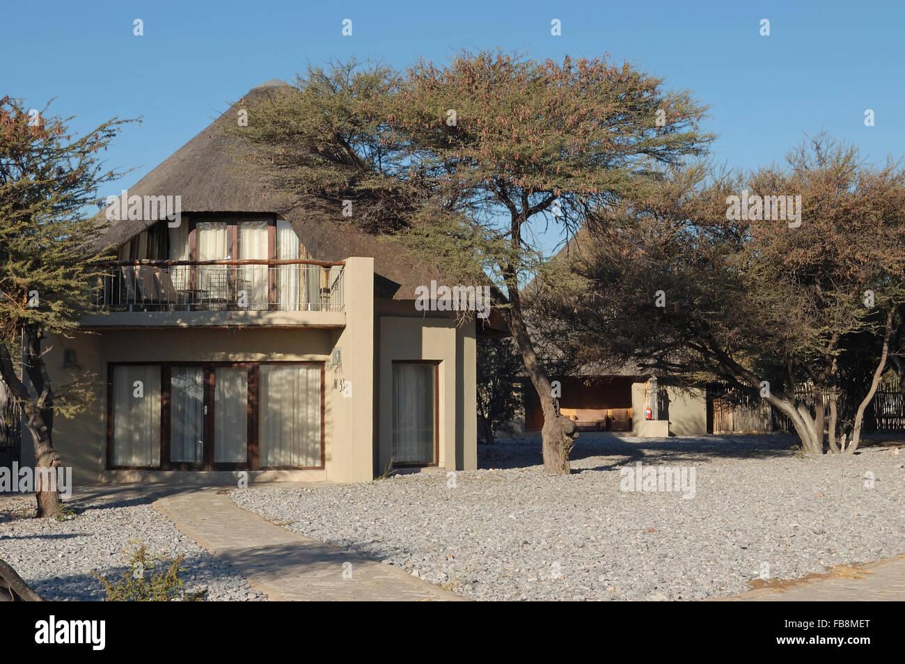 Luxury chalets, Okaukeujo Rest Camp, Etosha National Park, Namibia - Stock Image