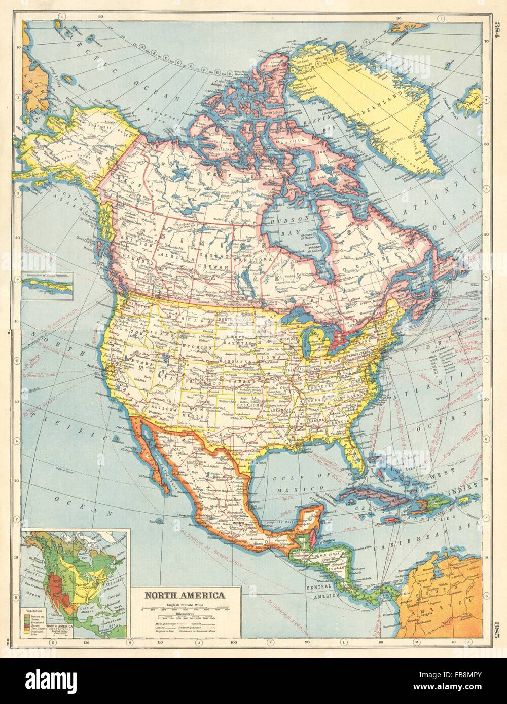 Canada Usa Map States And Provinces.North America Canada Provinces Us States Mexico Inset Vegetation