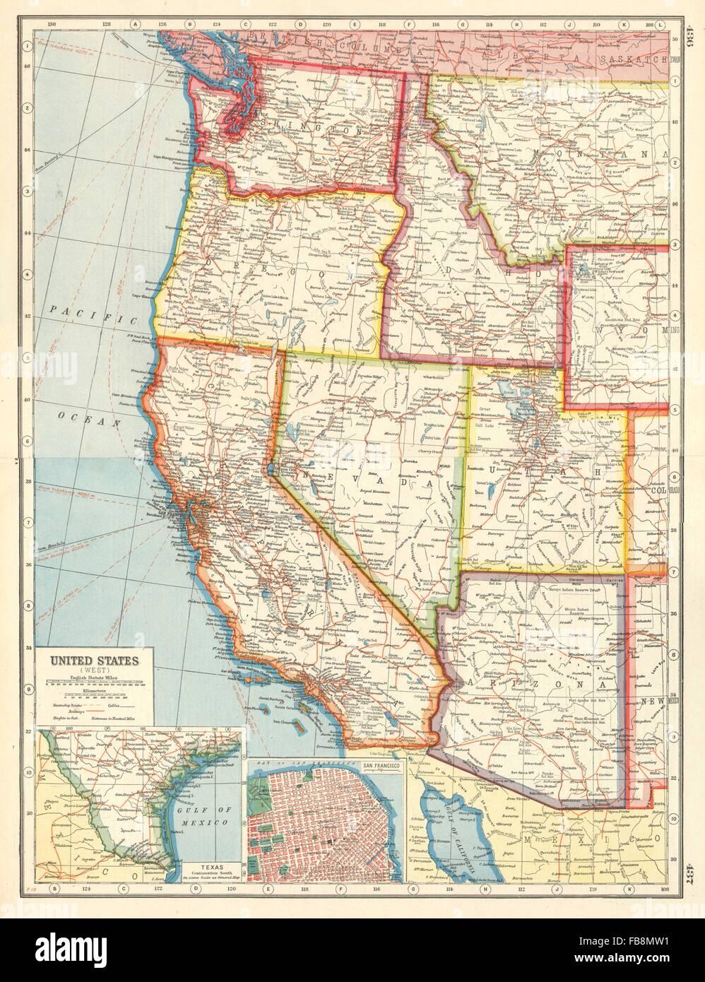 Map Of Nevada And Arizona Usa.Usa West California Az Ut Nv Wa Or Id San Francisco United States