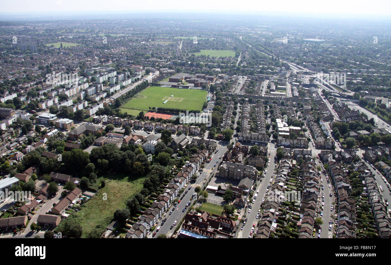 aerial view of Our Lady of Grace RC Primary School & Rectory Field, Blackheath, London SE3, UK - Stock Image
