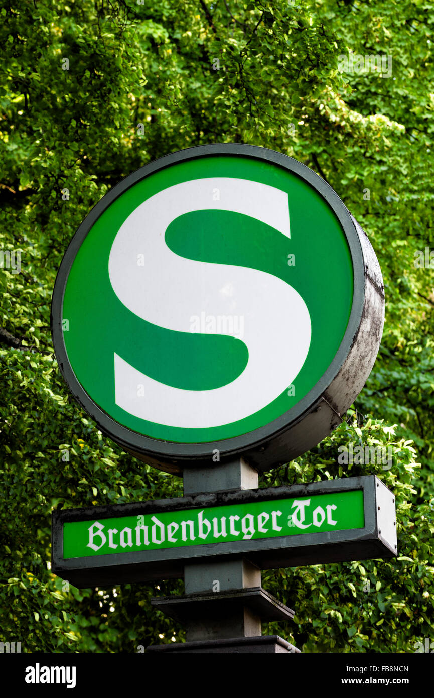 Unter den Linden Avenue, S-Bahn subway station entrance at Brandenburger Tor, Berlin, Brandenburg, Germany Stock Photo