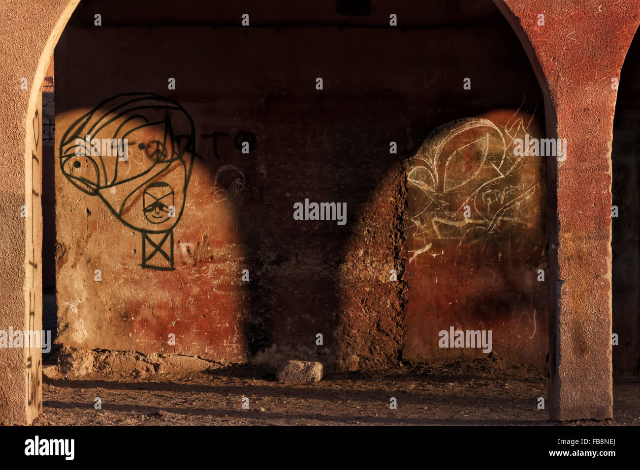 Graffiti on a old rural building in Morocco. - Stock Image