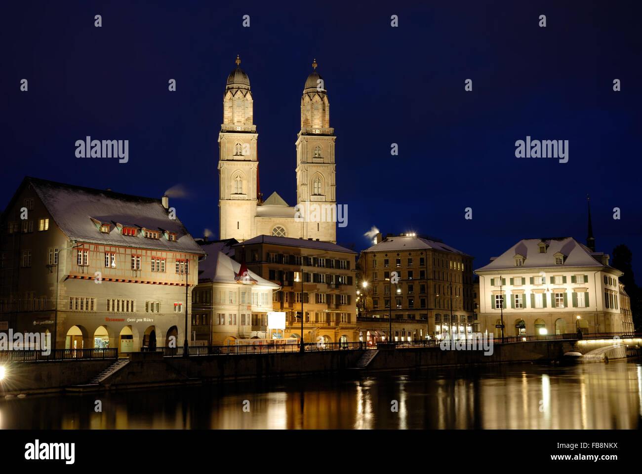 Grossmunster, Helmhaus and Limmatquai, Zurich, Switzerland - Stock Image