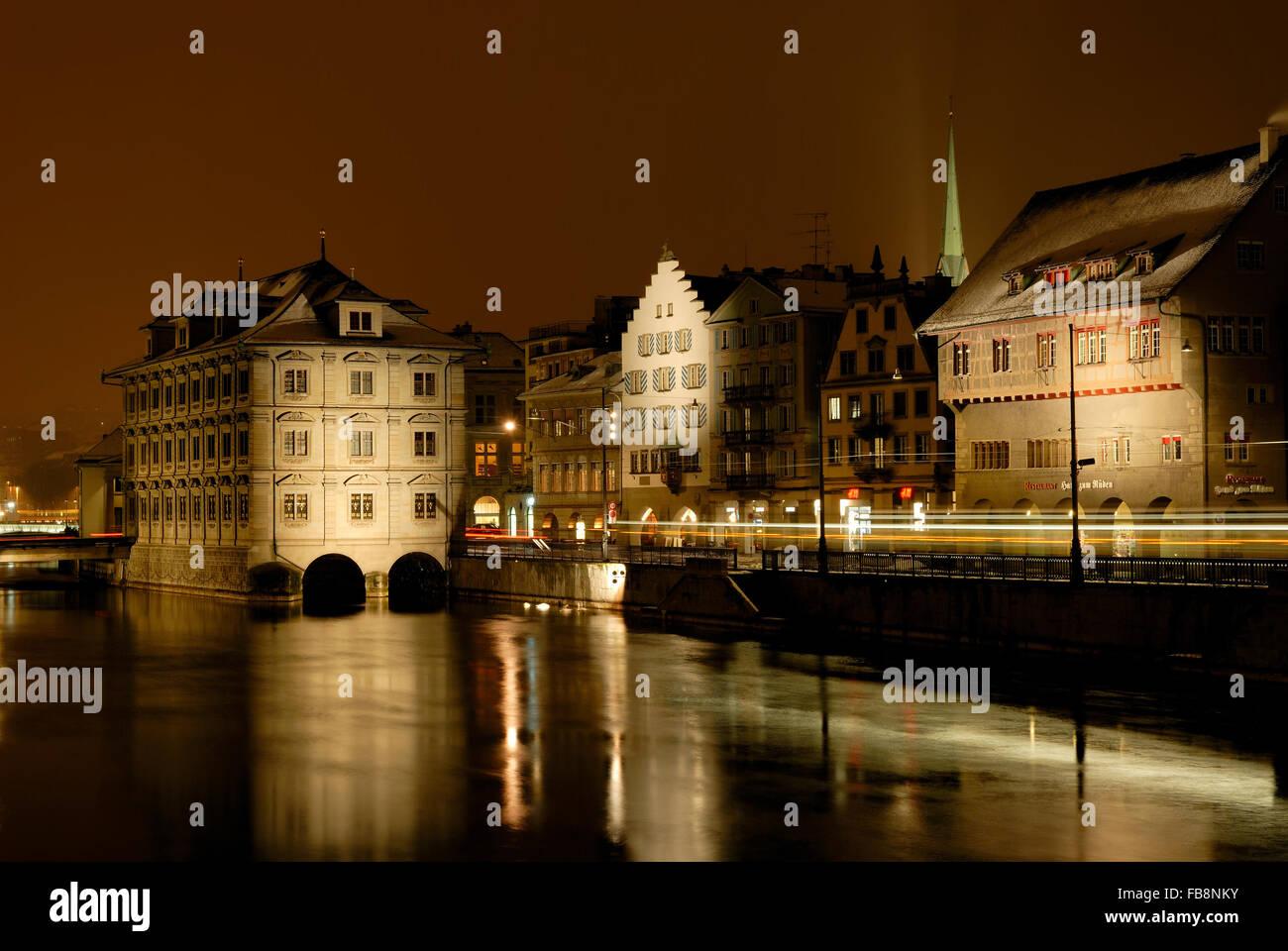 Rathaus and Limmatquai, Zurich, Switzerland - Stock Image