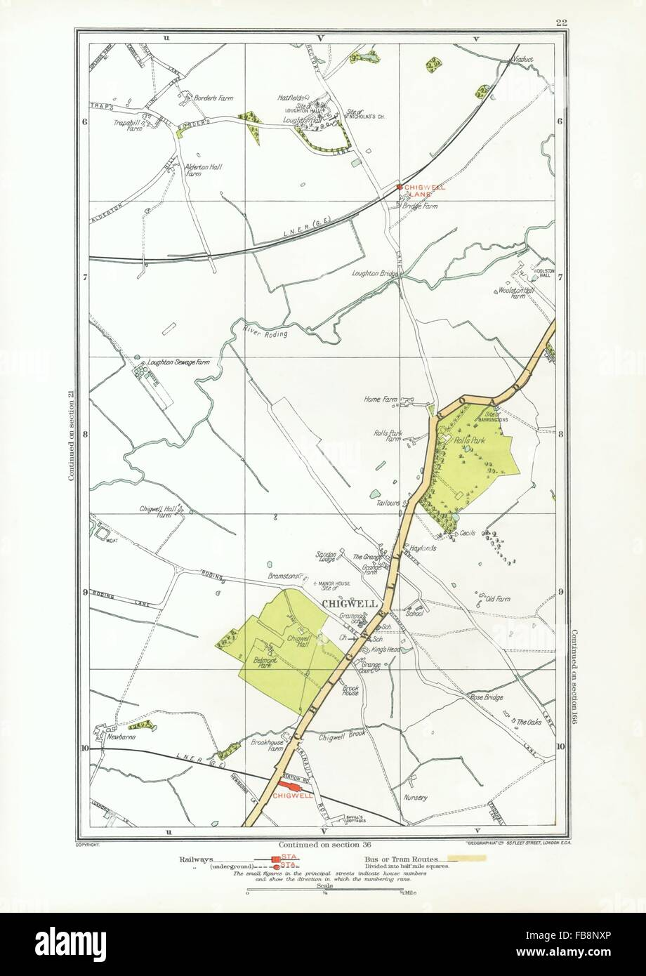Buckhurst Hill Loughton Woodford Wells Roding Valley 1937 Old Map Essex Art Prints