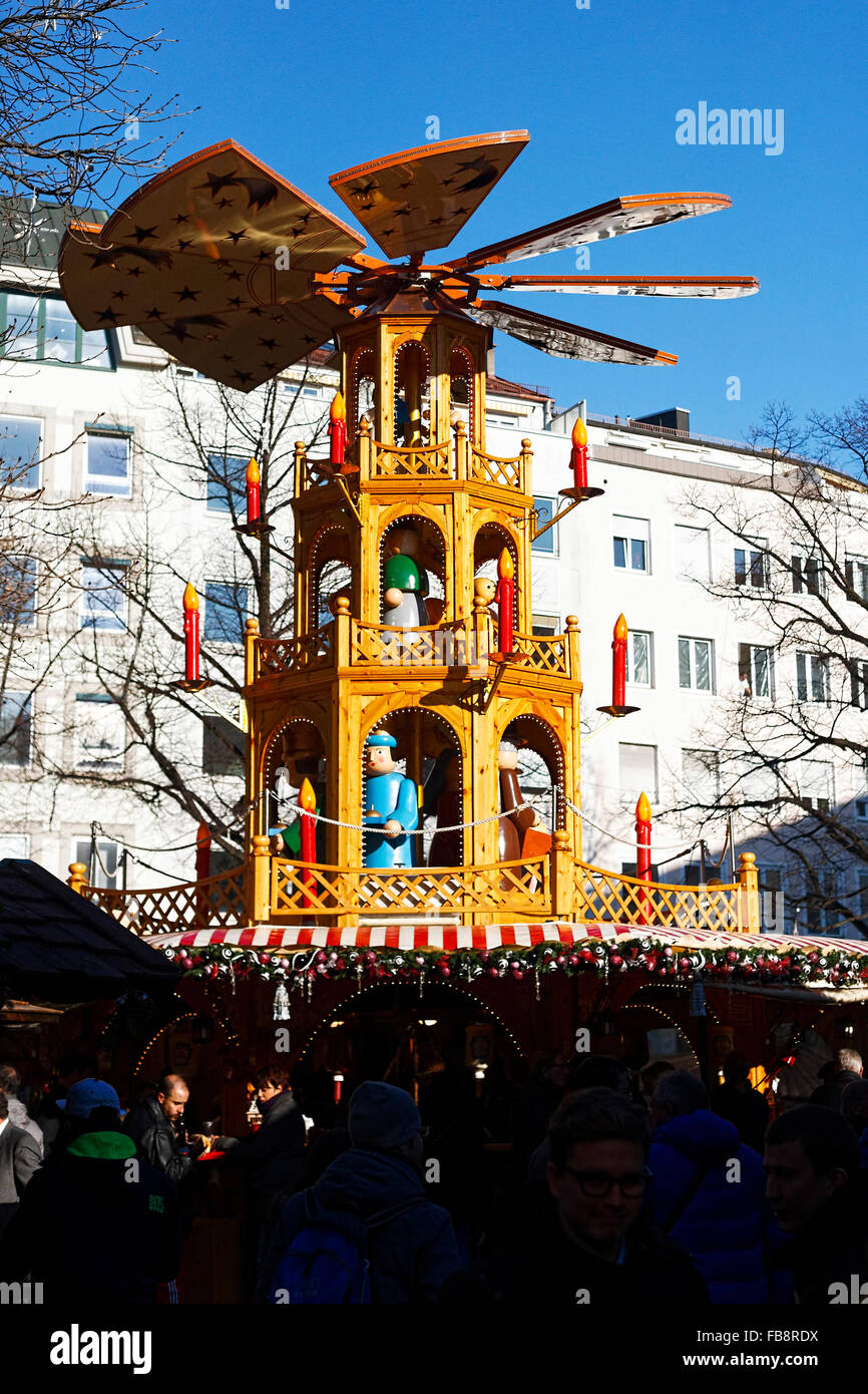 German Christmas markets in Rindermarkt,  Munich, Upper Bavaria, Germany, Europe. - Stock Image