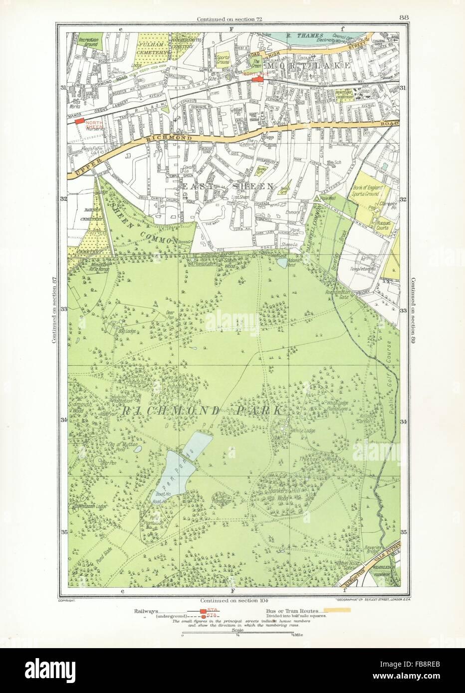 Richmond London Map.London Richmond Park East Sheen Mortlake North Sheen Roehampton