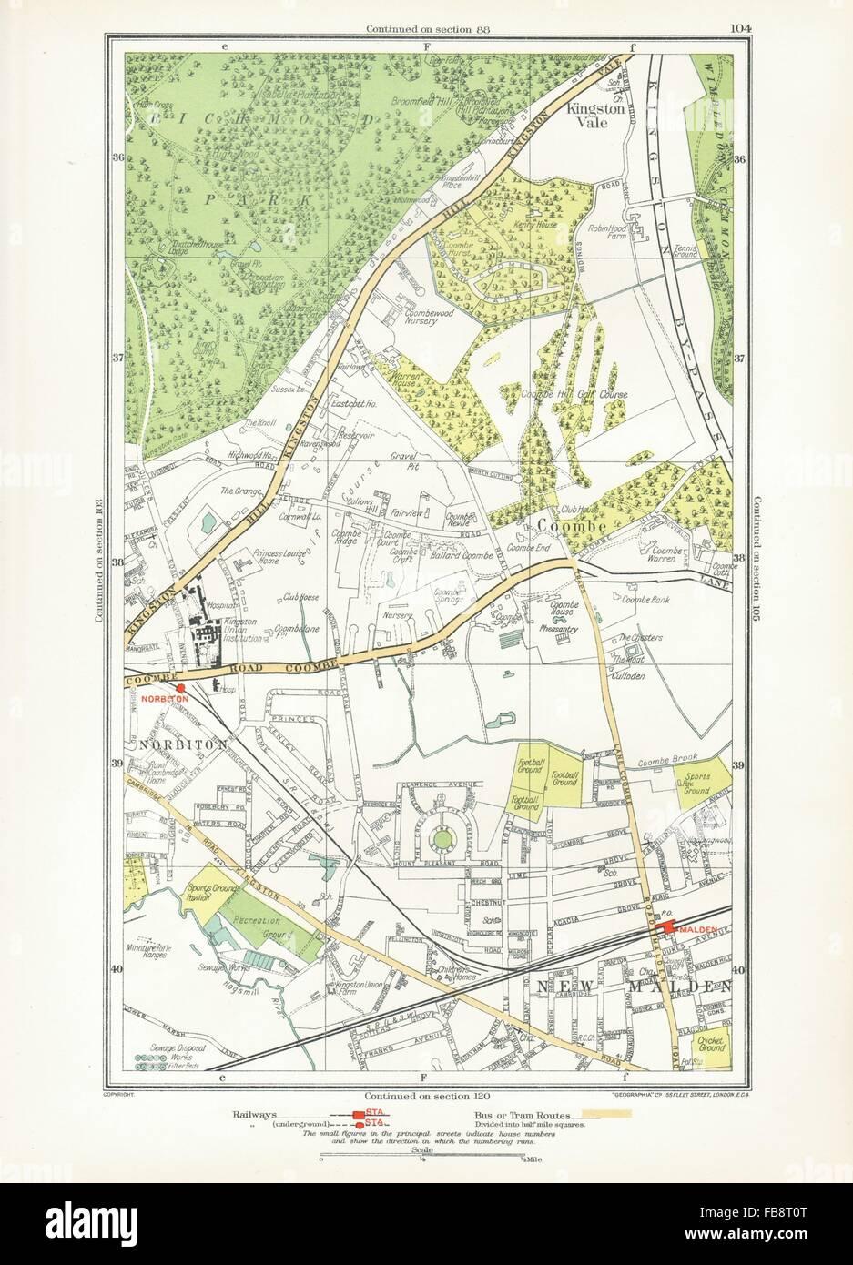 Norbiton Art Europe Maps Coombe Kingston Hill Kingston Vale New Malden Malden 1933 Old Map Sophisticated Technologies