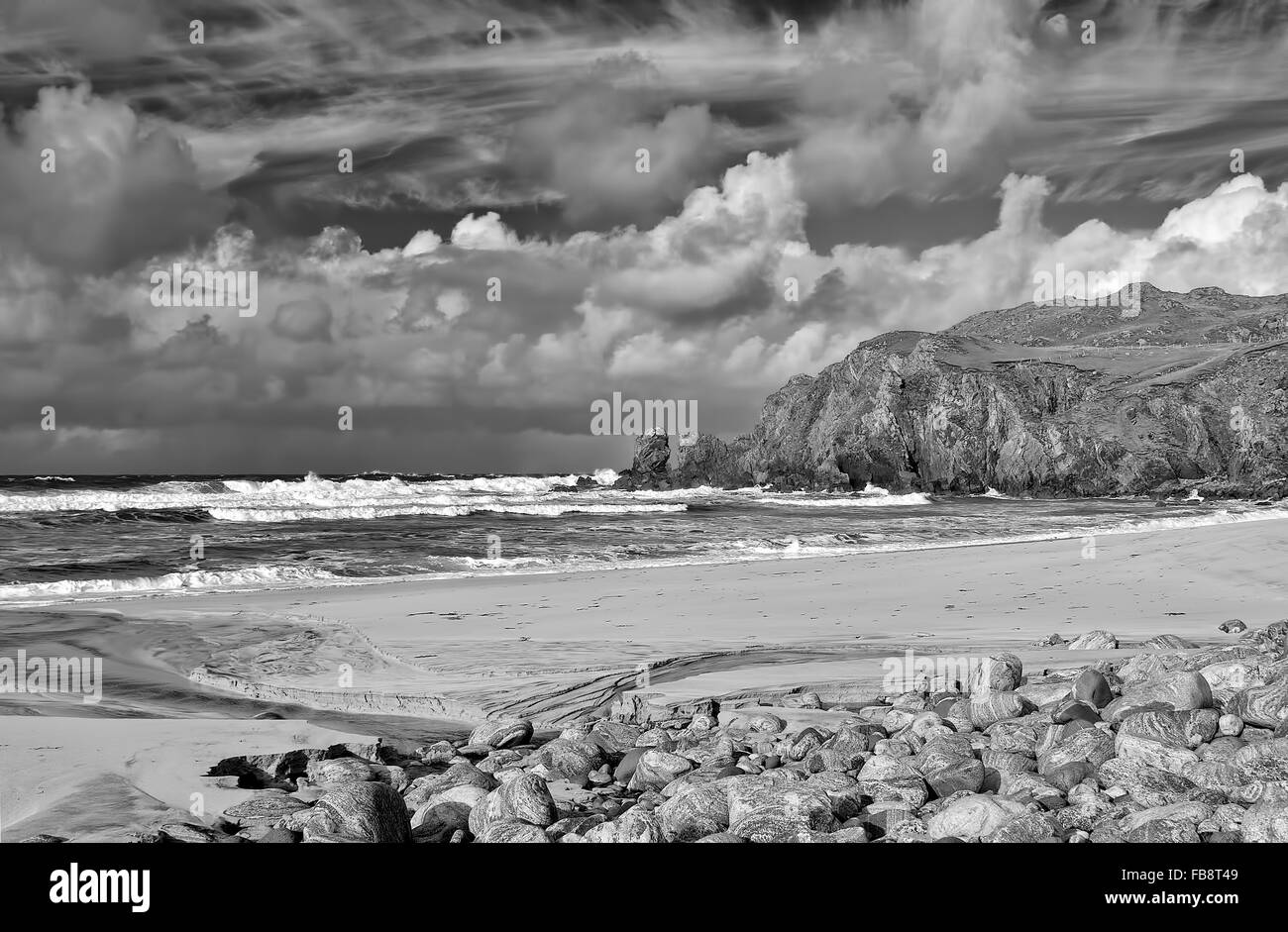 A stormy day on the coast of the Outer Hebrides in Scotland. - Stock Image