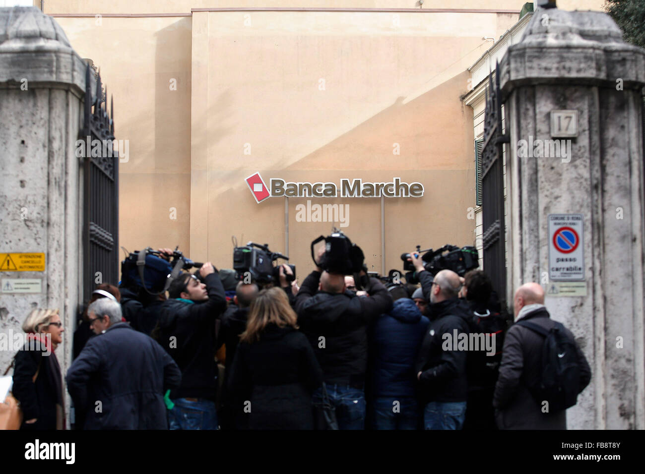 Rome, Italy. 12th January, 2016. Roman headquarters of Banca Marche, one of the four banks saved from bankrupt by - Stock Image