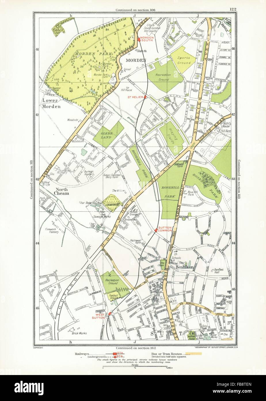SUTTON. Benhilton, North/Lower Morden Park, Cheam, St Helier; Surrey, 1933 map - Stock Image