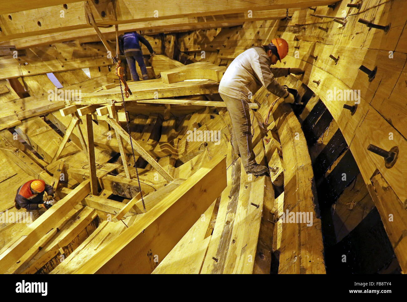 St. Petersburg, Russia. 12th Jan, 2016. Carpentry works at an assembly shop of a museum-ship, a replica of the Russian Stock Photo