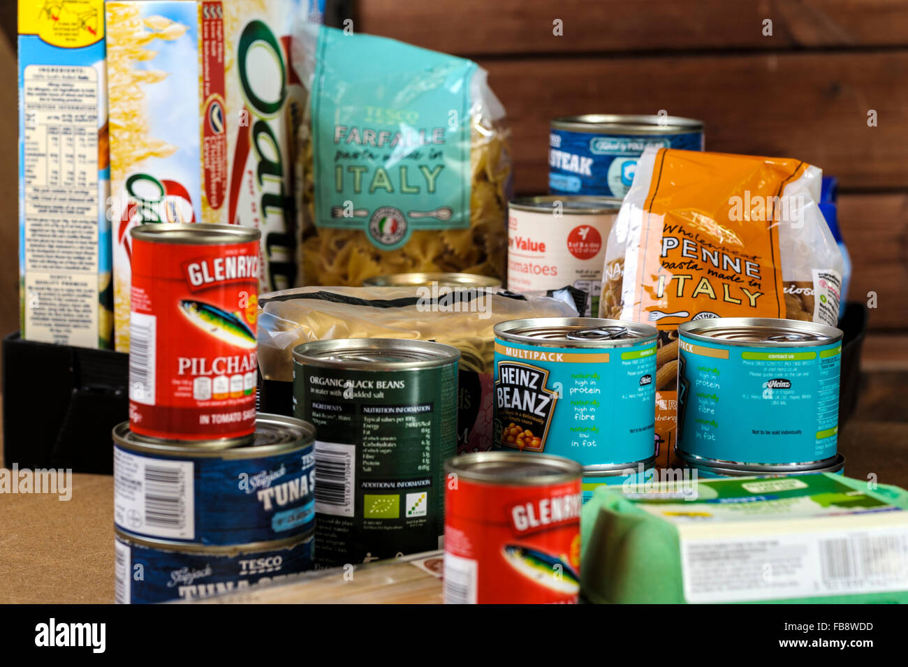 Foodstuff's in food bank storeroom ready to be packed for distribution. - Stock Image