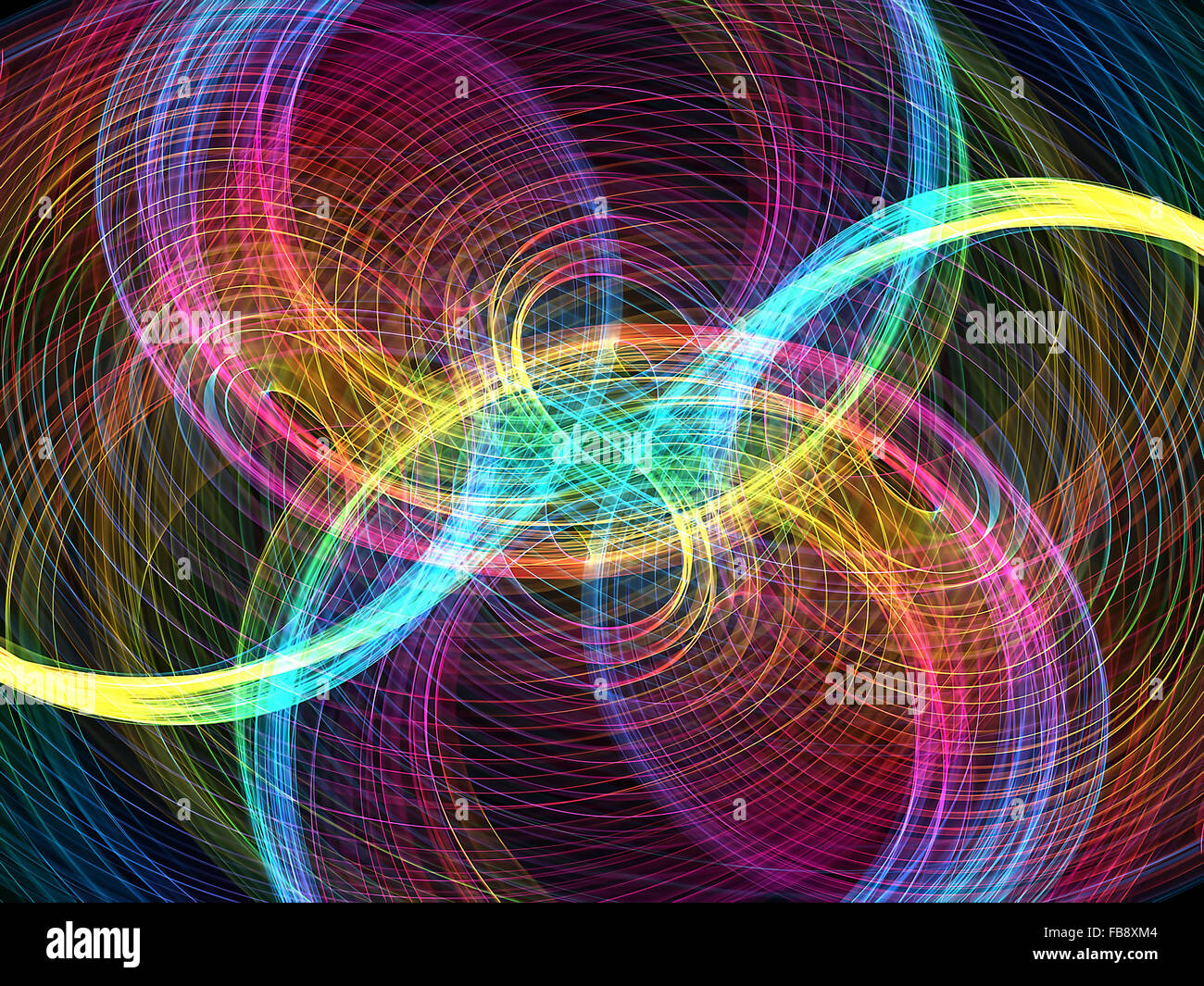 abstract multicolored wavy symmetrical pattern - Stock Image