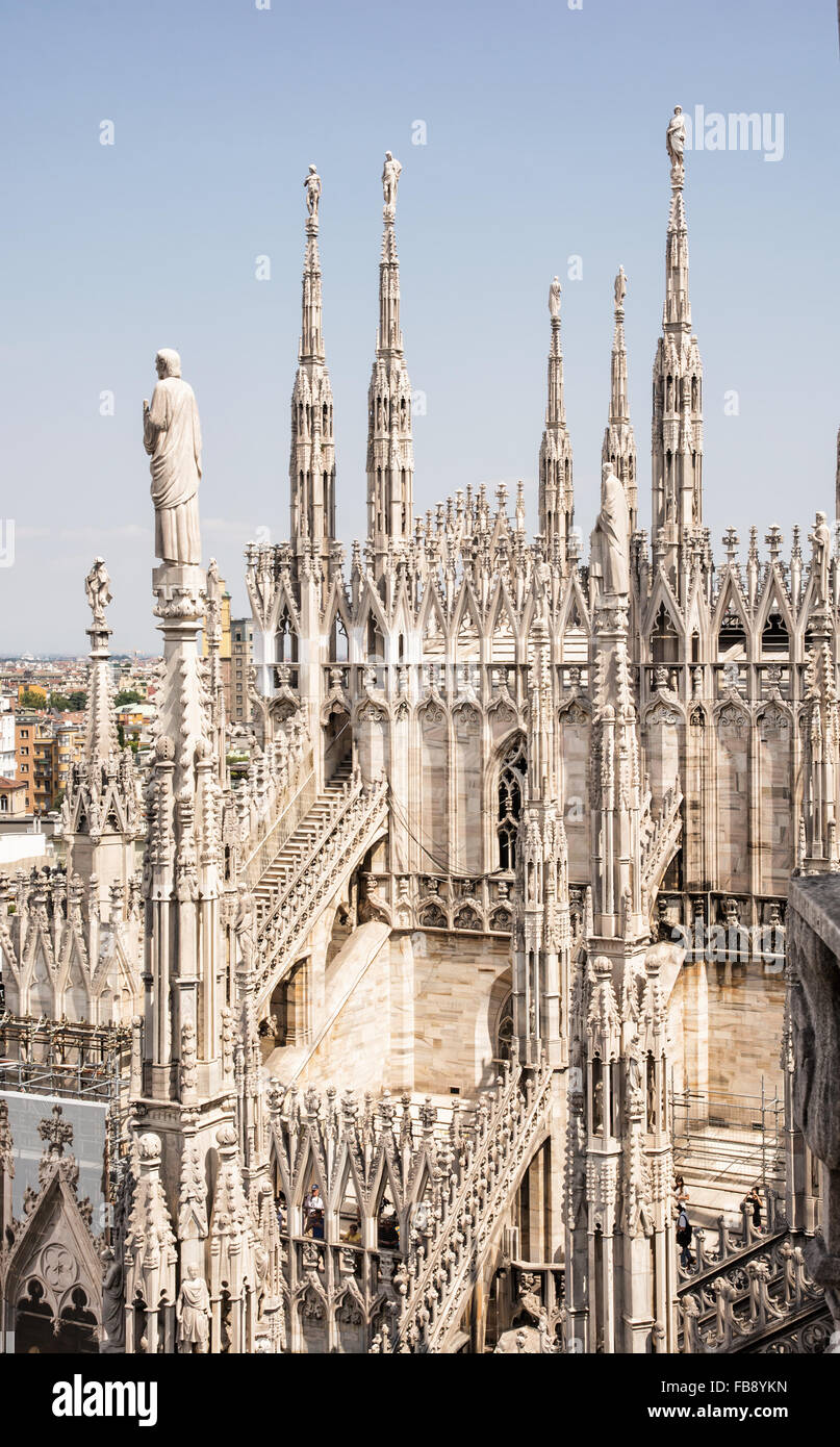 Grandiose Milan cathedral (Duomo di Milano), Italy. Architectural theme. - Stock Image