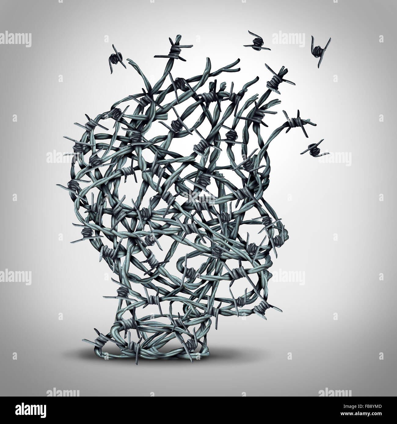 Anxiety solution and freedom from fear and escape from tortured thinking and depression concept as a group of tangled - Stock Image
