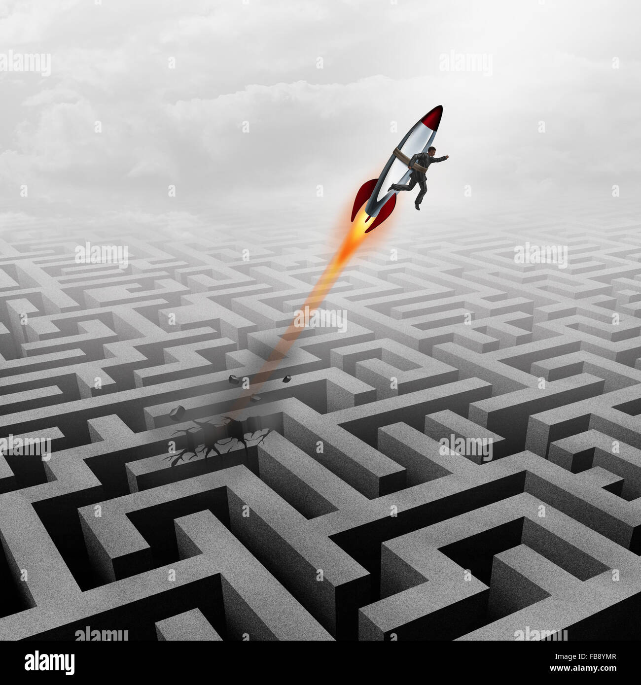 Business success concept and successful clever businessman motivation metaphor as a man breaking out of a maze with - Stock Image