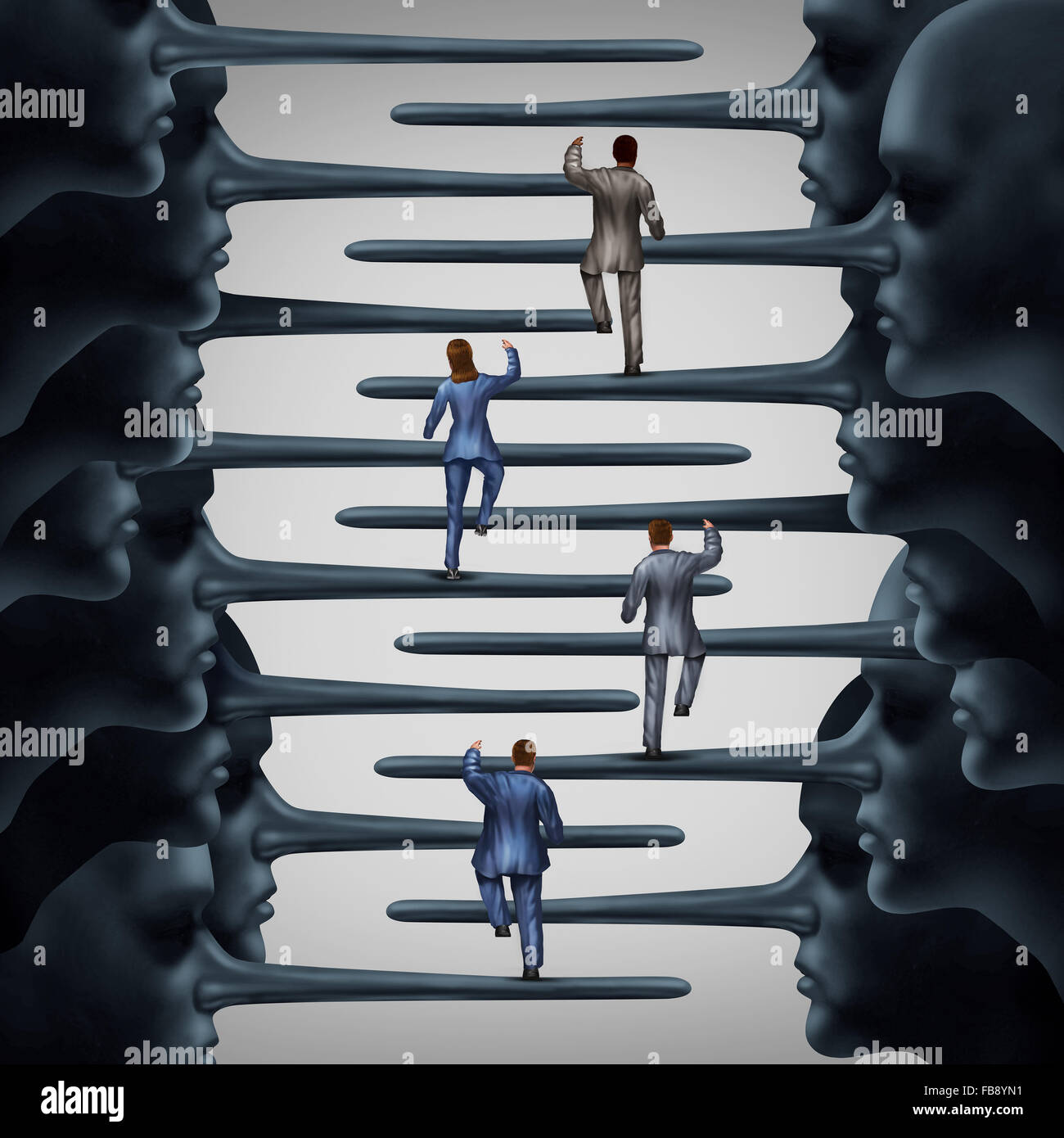 Corrupt system concept and dishonest organization idea as a group of business people climbing a ladder shaped with - Stock Image