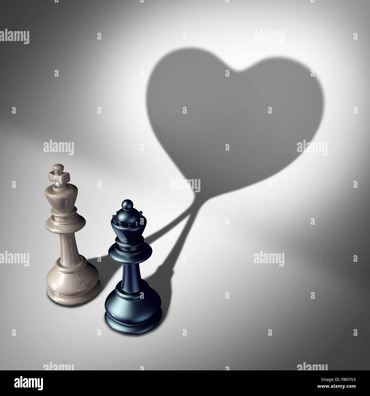 Couple in love as a valentine's day concept as a white king and black queen chess piece casting a united cast - Stock Image