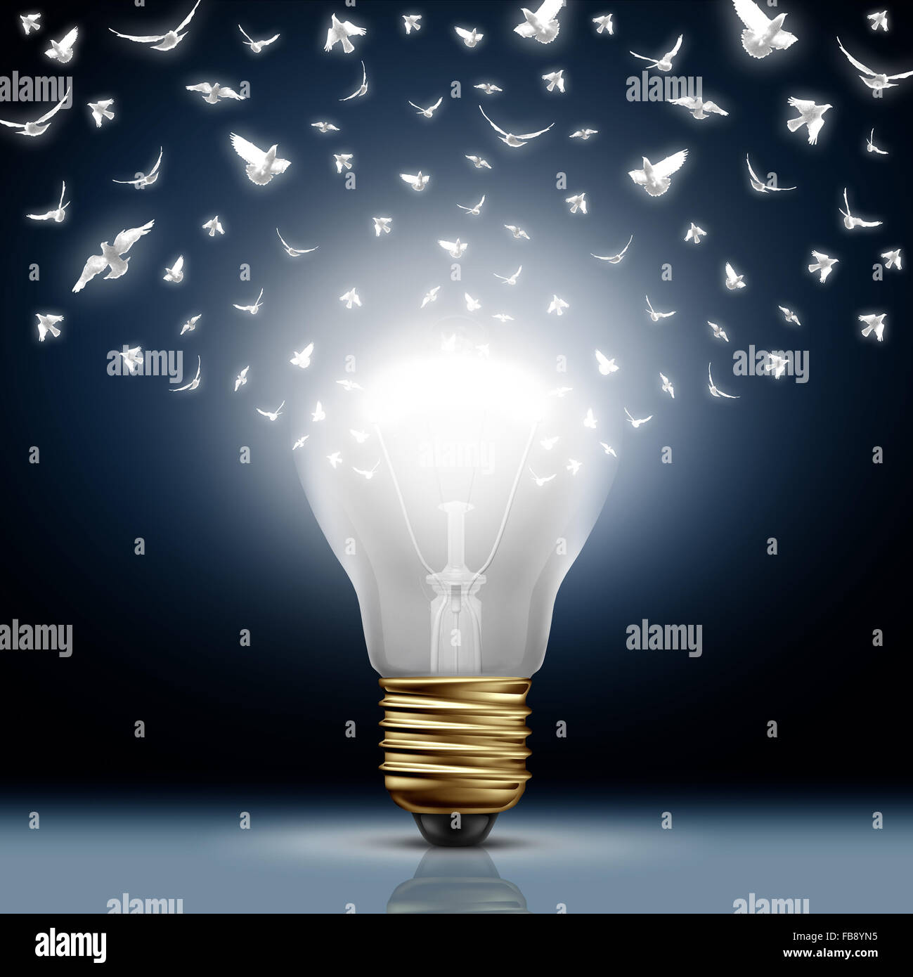 Creative start concept as a bright illuminated light bulb transforming to white flying birds as a digital messaging - Stock Image