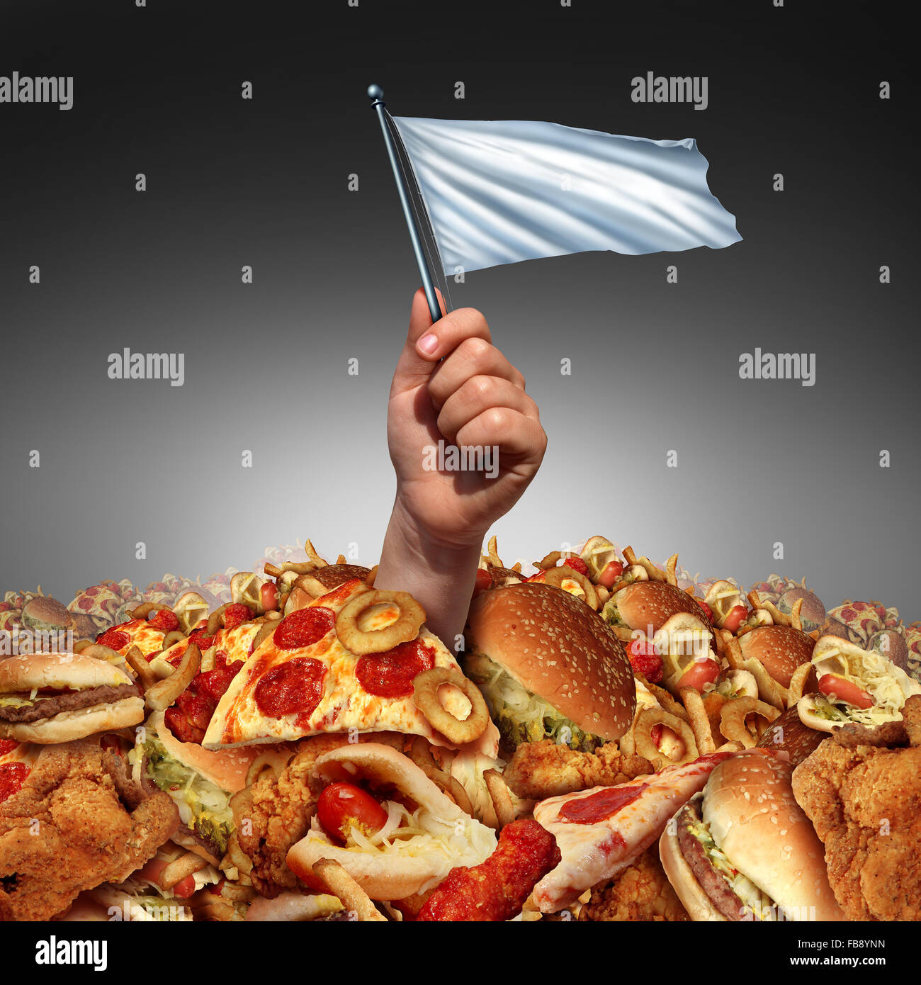 Junk food surrender and giving up fatty food or quitting a high fat lifestyle and dieting help concept as a hand - Stock Image