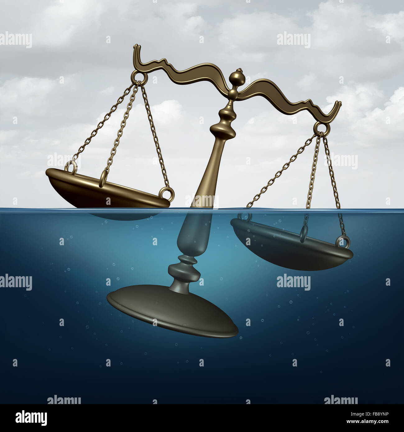 Legal trouble concept or justice problems symbol as a scale of justice drowning in water as a metaphor for law or - Stock Image