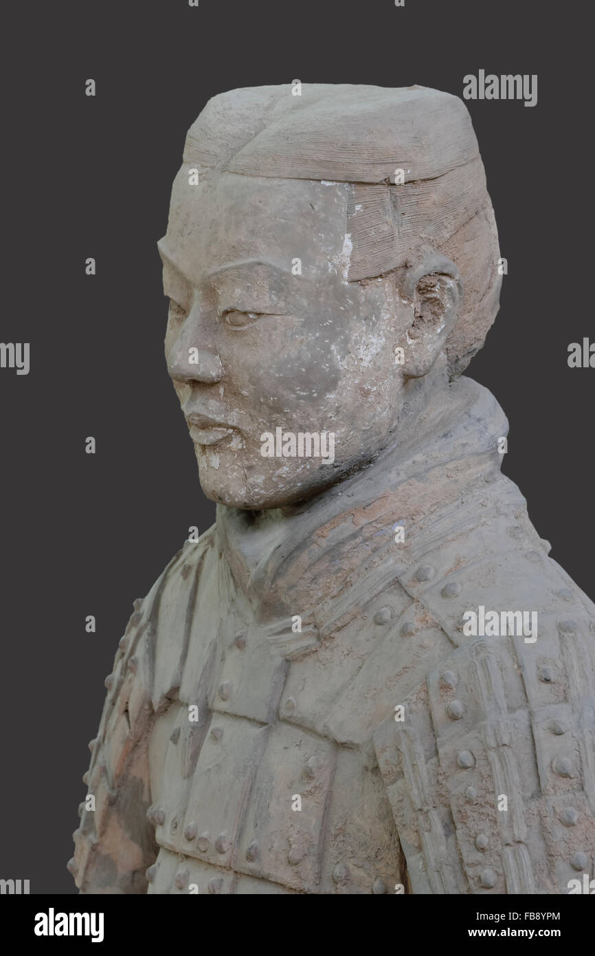 Bust of a Terracotta Warrior, Mausoleum of the first Qin Emperor, Xian, Shaanxi Province, China - Stock Image
