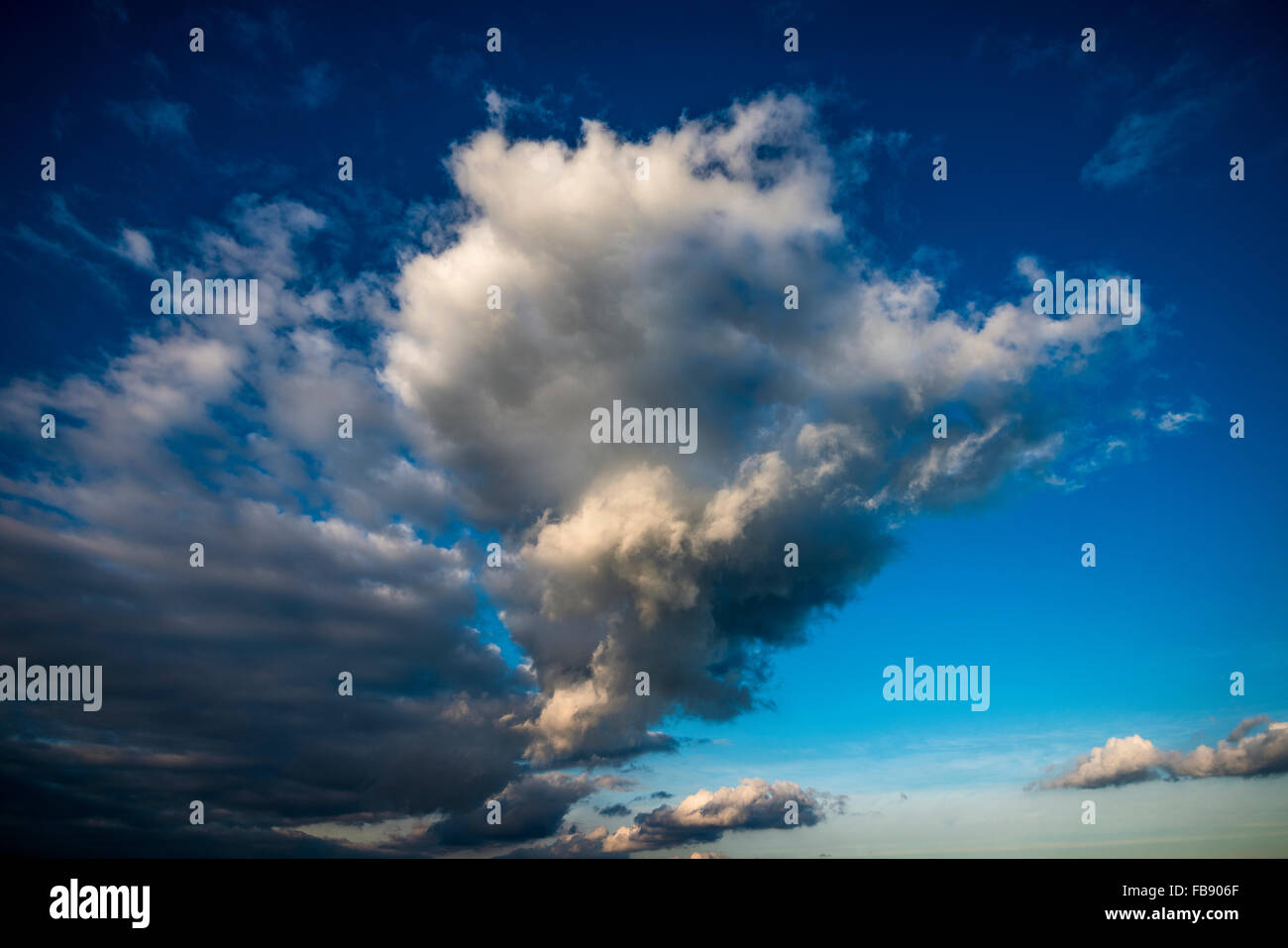 Dramatic cloudscape over the English Channel, West Sussex, UK - Stock Image