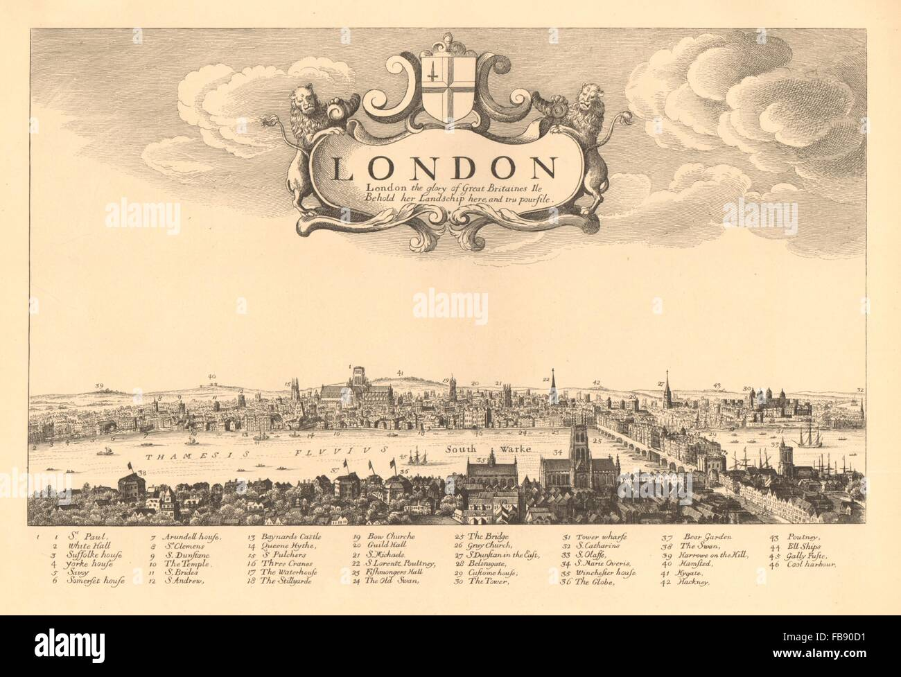 View of LONDON in 1657 from HOLLAR. London Bridge. Globe Theatre, 1834 old  map