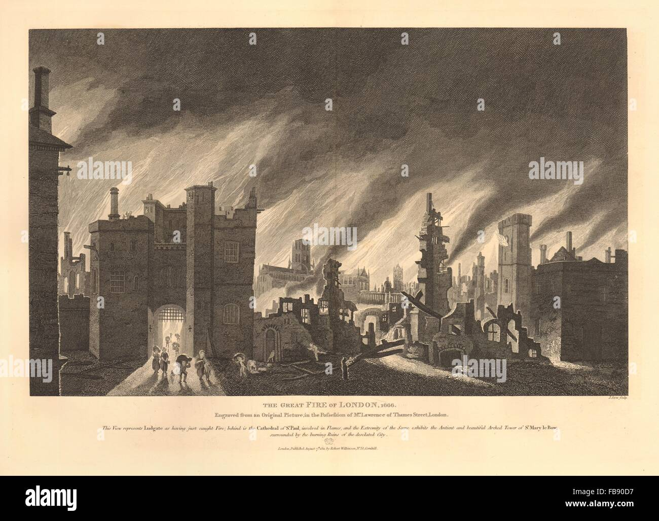 The GREAT FIRE OF LONDON 1666. Ludgate St Paul's Cathedral St Mary-le-Bow, 1834 - Stock Image