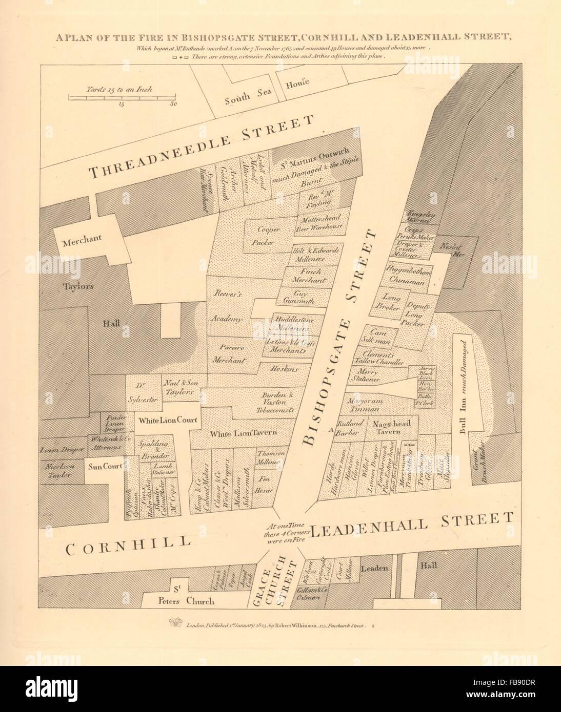 A plan of the 1765 BISHOPSGATE STREET FIRE. Cornhill Threadneedle St., 1834 map - Stock Image
