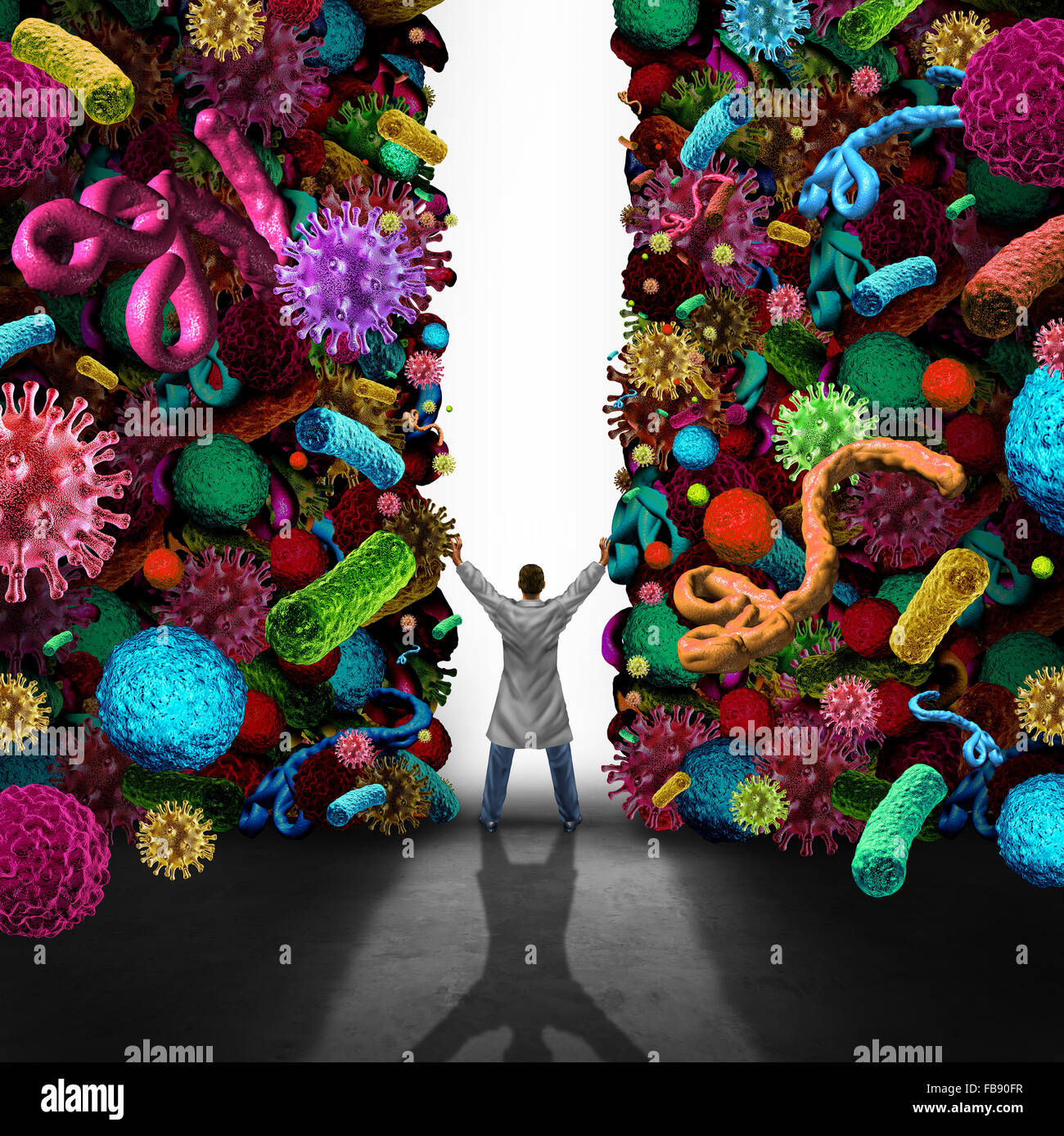 Medical success concept as a doctor or specialist physician opening a wall made of viruse bacteria and cancer disease - Stock Image