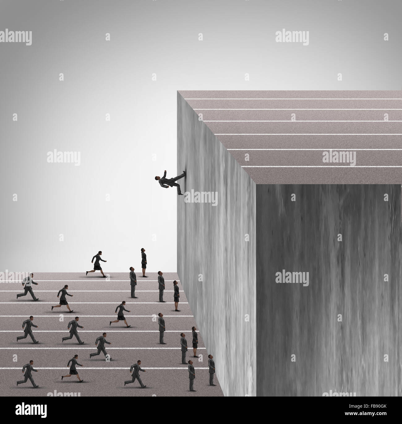 Upgrade business skill concept and career growth symbol as a businessman running on a vertical wall upward to achieve - Stock Image