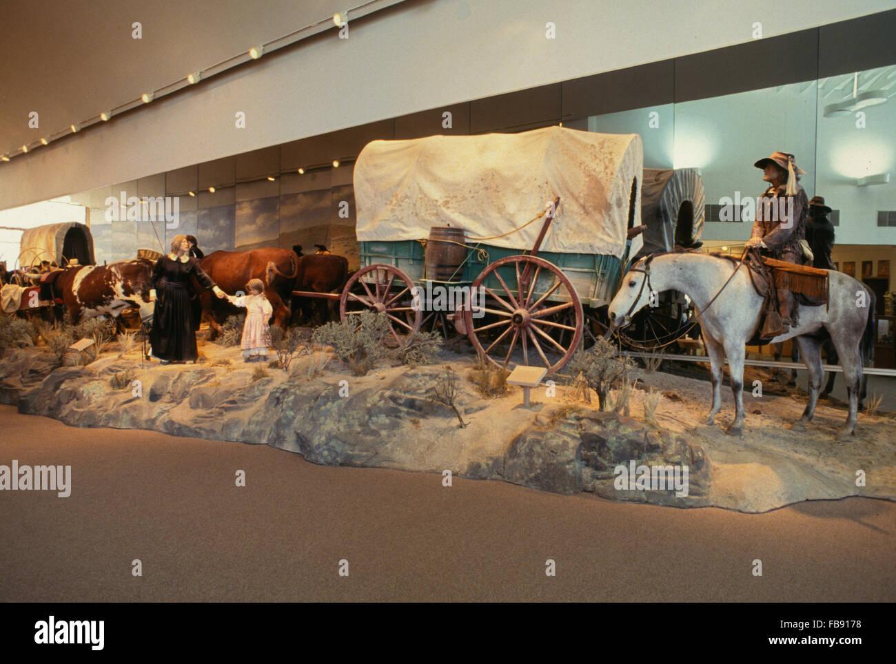 Oregon Trail Interpretive Center exhibit at Flagstaff Hill, near Baker City in eastern Oregon. - Stock Image
