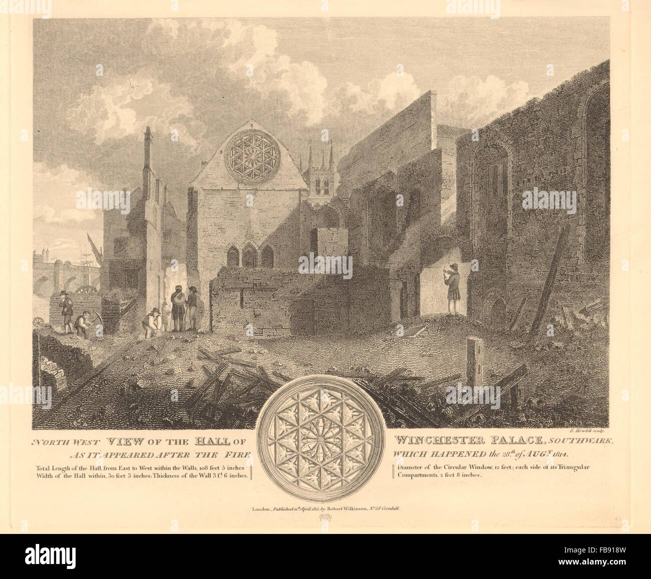 WINCHESTER PALACE HALL, SOUTHWARK. After the 1814 fire. Clink Street, 1834 - Stock Image