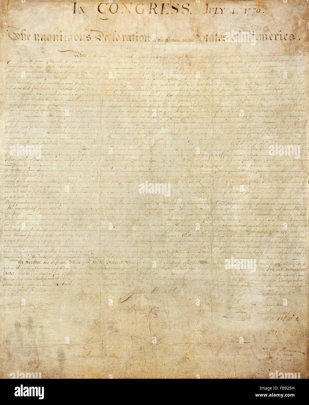 Declaration of Independence. The badly faded original engrossed copy of the US Declaration of Independence, held - Stock Image