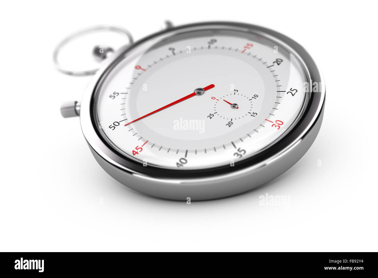 Chronograph with red needles over white background, blur effect. Concept of measurement or punctuality - Stock Image