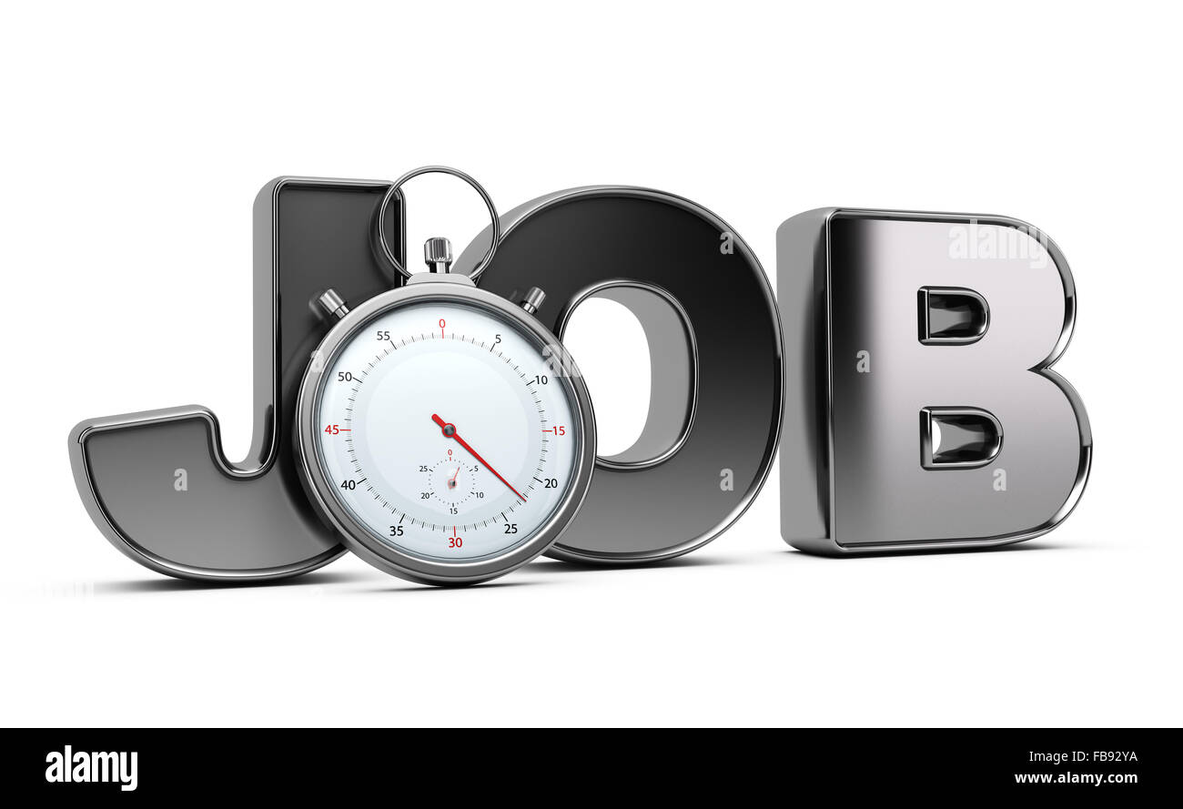 Word job with stopwatch over white background, 3D illustration of speed interviewing. - Stock Image