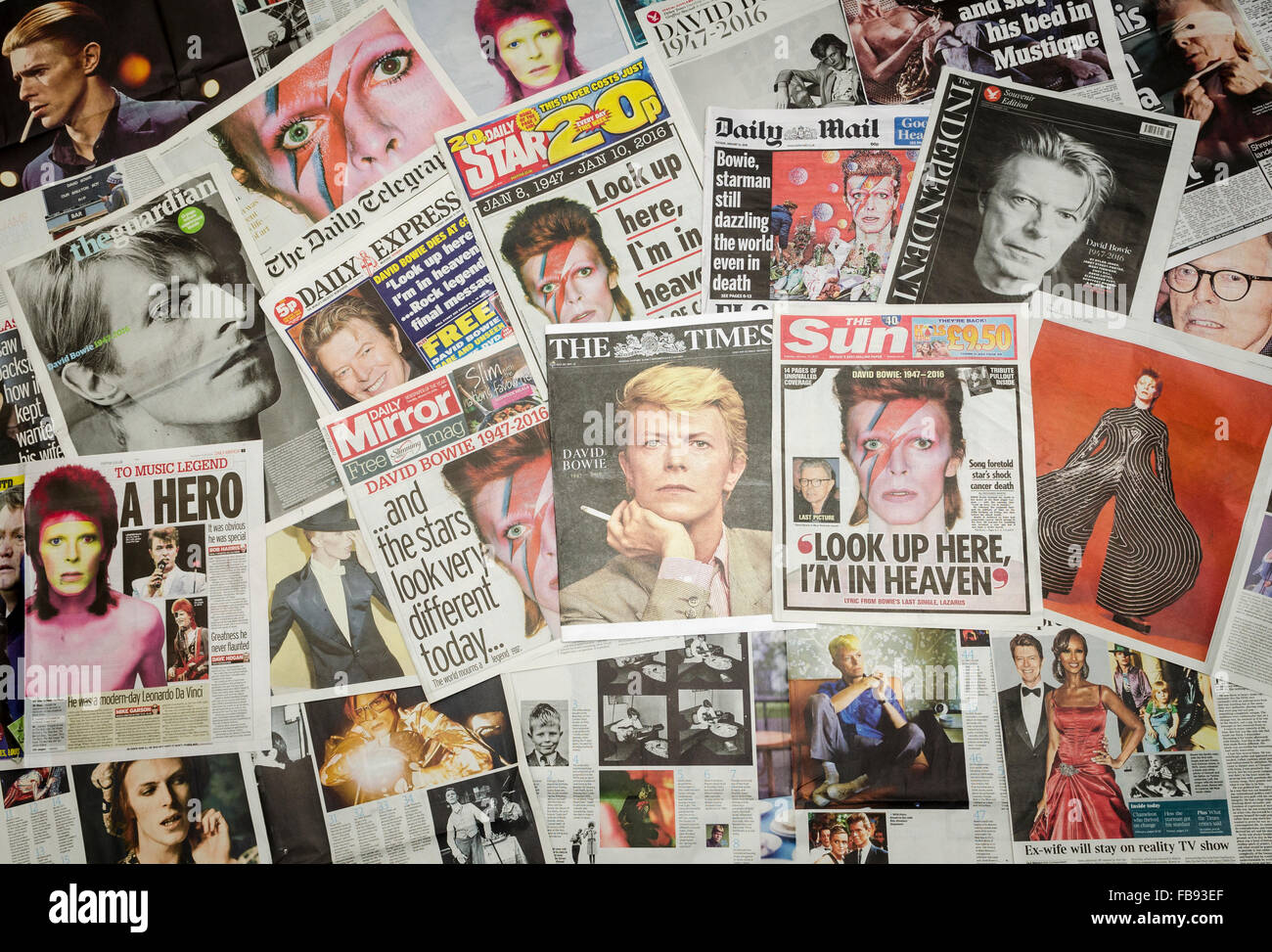 London, Britain. 12th Jan, 2016. British newspaper front pages following the death of David Bowie Stock Photo