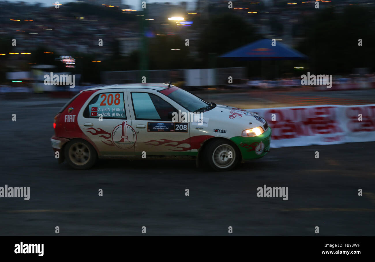 Sinan Ozdil with Fiat Palio in special stage of Kocaeli Rally 2015 - Stock Image