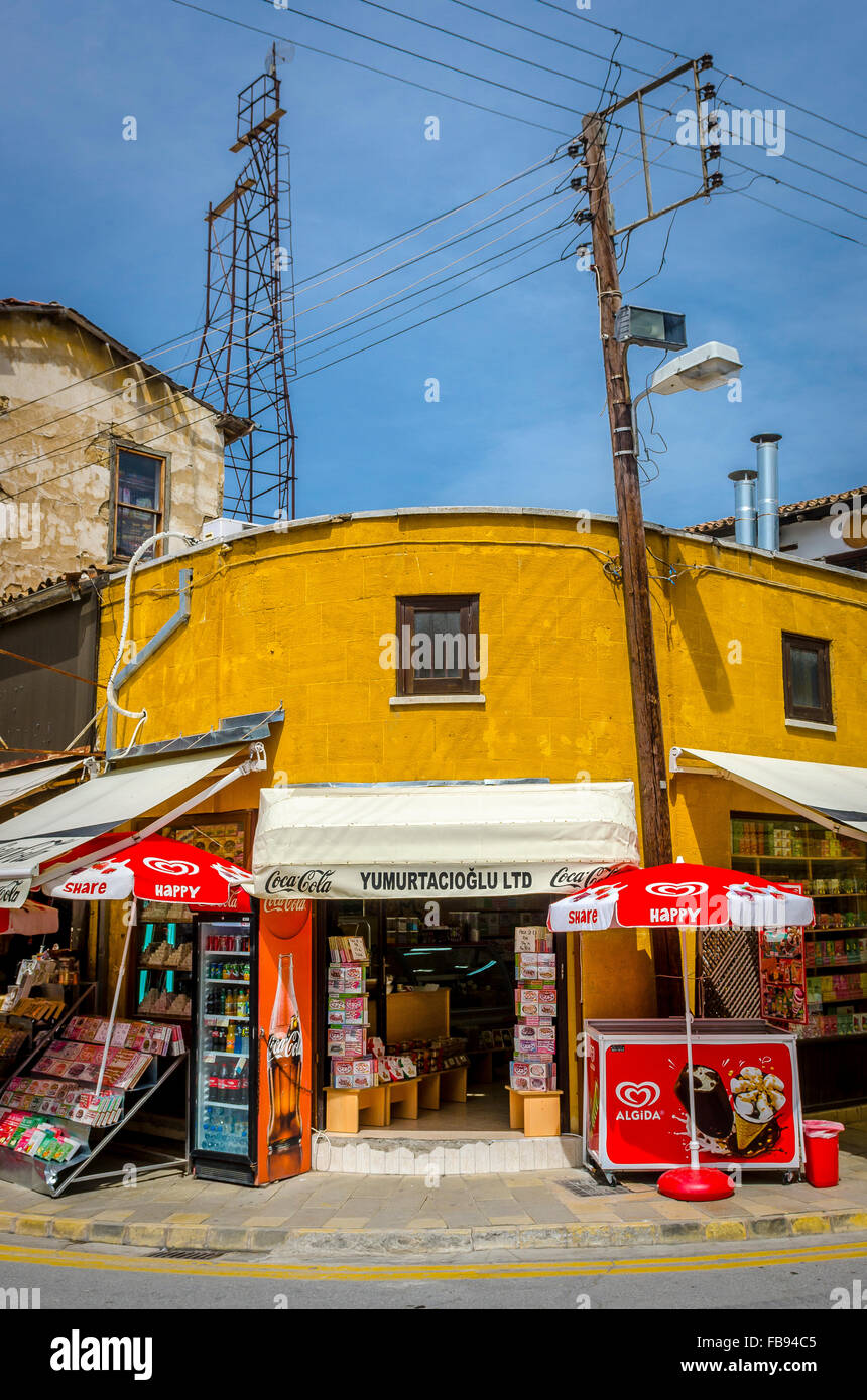 Shop on a corner in the city of Nicosia in Cyprus. - Stock Image